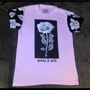 Young & Wild Pink T-Shirt With Rose